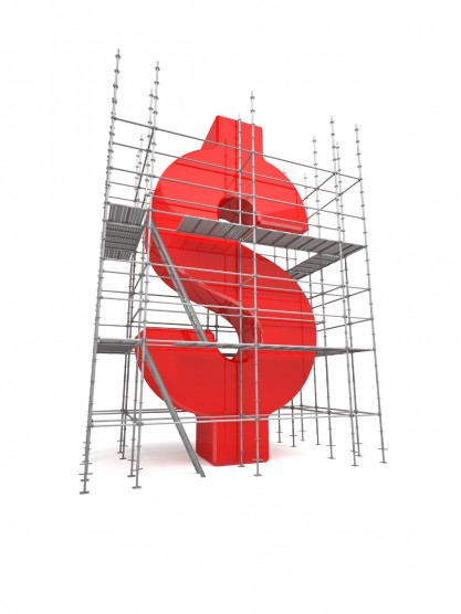 A conceptual image of a dollar sign surrounded by builders scaffolding.